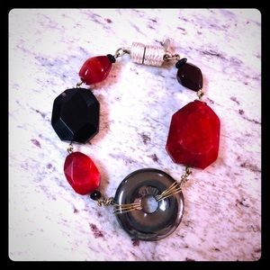 2/$20 NWOT Chico's red, black and silver bracelet